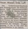 Ausstellung Feuer Wasser Erde Luft Mittelbayerische Zeitung Oktober 1995